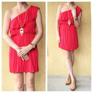 Anthropologie One Shoulder Ruffle Red Dress Sz M