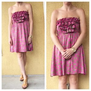 Anthropologie Judith March Pink Brown Dress Sz L
