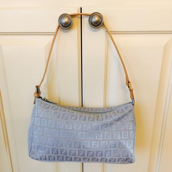 650ff071cc32 FENDI Handbags - FENDI - Authentic Pochette in Light Blue Monogram