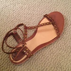 FRYE brown studded sandals size 6