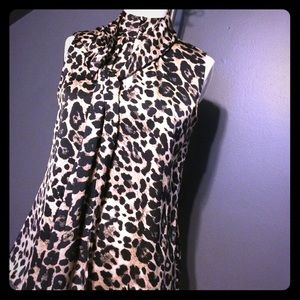 Vince Camuto S/less animal print blouse w/scarf