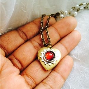 Jewelry - Red ruby heart steampunk locket necklace
