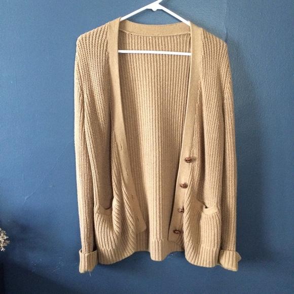 65% off Sweaters - Tan Sweater Cardigan from Emi's closet on Poshmark