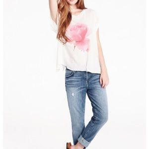 Wildfox Rainy Rose jagged edge tee