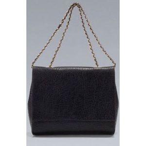 Zara Black Leather Handbag with Gold Chain Strap