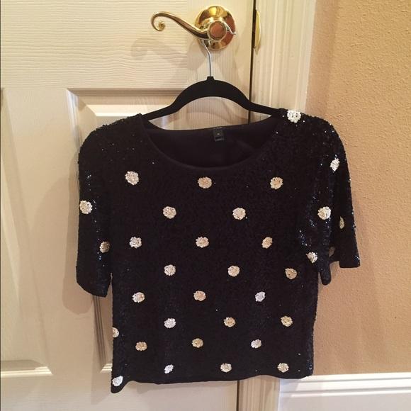 J. Crew Tops - JCREW sequin polka dot sweater top.