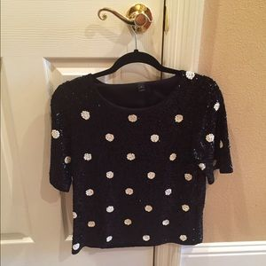 J. Crew Tops - JCREW sequin polka dot sweater top.