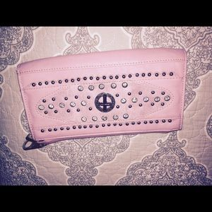 Nobel Mount Clutches & Wallets - Nobel Mount Pink Leather Large Bling Wallet