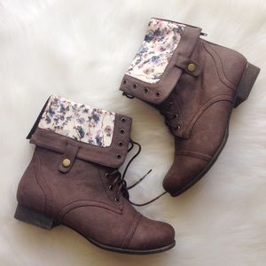 Charlotte Russe Boots - Brown Combat Boots with Floral Detail