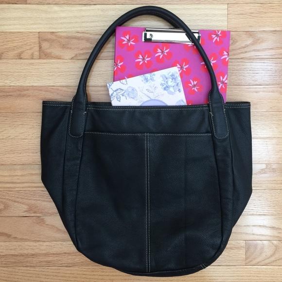 Black Leather Tignanello Tote Bag From