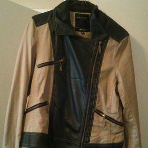 Jackets & Blazers - Faux leather and khaki jacket