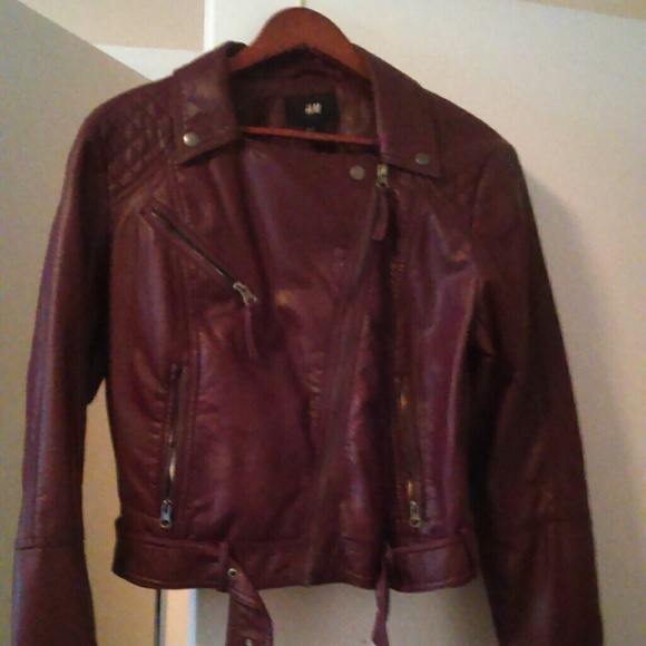 H&M Jackets & Blazers - H&M Burgundy faux leather jacket