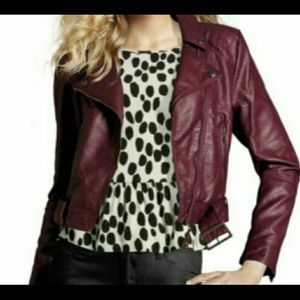 H&M Jackets & Coats - H&M Burgundy faux leather jacket