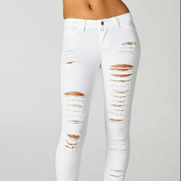 top design famous brand purchase original NWT skinny white ripped jeans NWT
