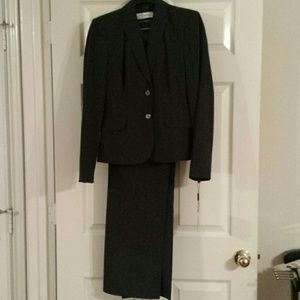 New Calvin Klein Pinned Striped Charcoal Pantsuit