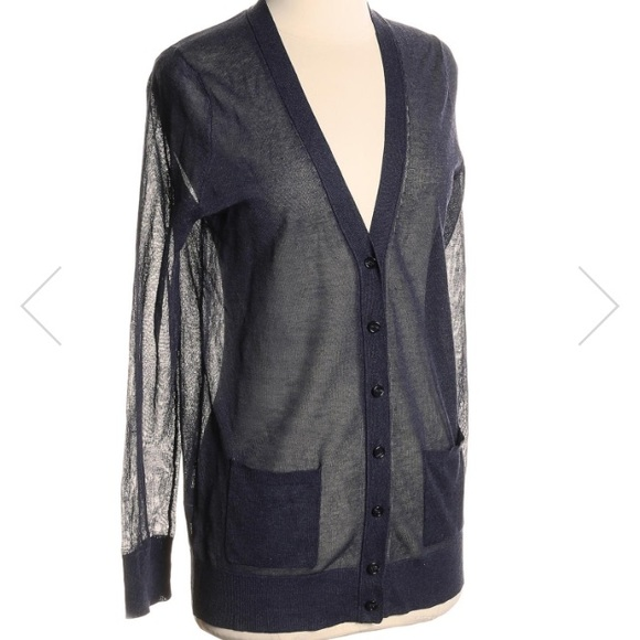 70% off LOFT Tops - Navy blue LOFT sheer cardigan from Nikki's ...