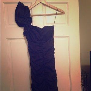 Cache black one shoulder ruffle cocktail dress