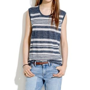 Madewell Tops - Modern Linen Muscle Tank in stripe