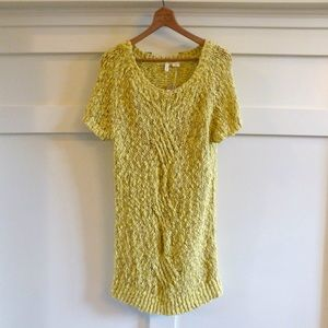 + ANTHROPOLOGIE MOSS yellow knit tunic top dress