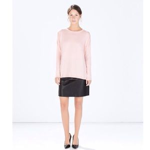 + ZARA powder pink cotton knit NWT +