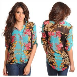 CLEARANCE Floral Blouse - XS Small Medium Large XL