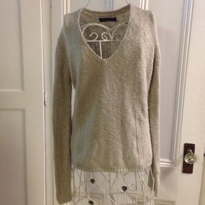Velvet taupe V-neck sweater