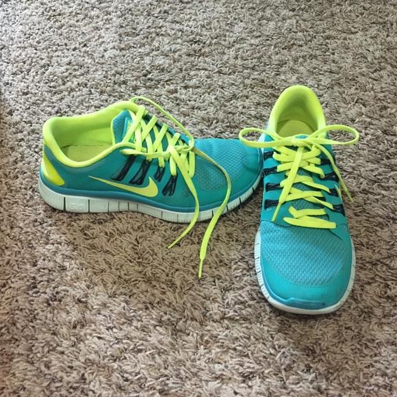 Nike Free Run 5.0 Neon Turquoise Yellow size 8.5