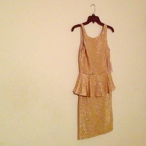Dresses & Skirts - Gold Peplum Dress