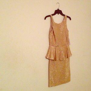 Dresses - Gold Peplum Dress