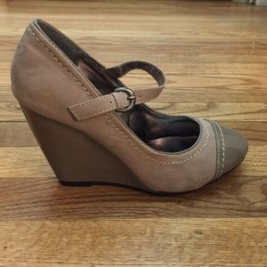 Bamboo Mary Jane wedge taupe