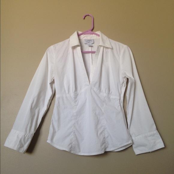 Loft loft crisp white v neck dress shirt from miya 39 s for Crisp white dress shirt
