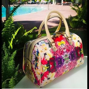 Henri Bendel floral kaleidoscope barrel bag