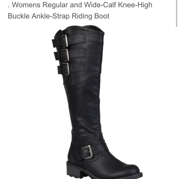 56 shoes black knee high wide calf boots from