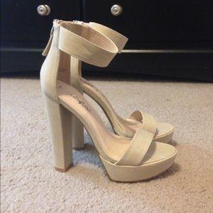 Nude Chunky Platform Heels