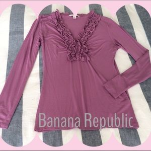 Banana Republic Tops - Banana Republic Long-sleeved Ruffle Top