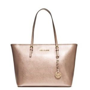 NEW Authentic Michael Kors Metallic Leather Tote