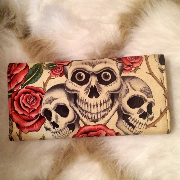 Bags - Rose and Skull Print Wallet