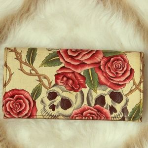 Clutches & Wallets - Rose and Skull Print Wallet