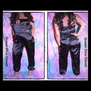 Dereon Pants - Black satin jeweled tube jumpsuit romper playsuit