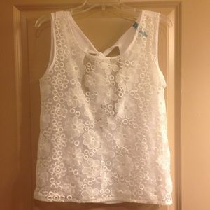 White Floral Sheer Top