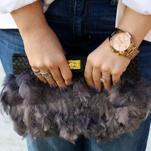 ASOS Clutches & Wallets - ASOS Grey Feather Clutch