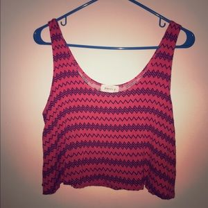 Salmon color tribal print crop top-  size S