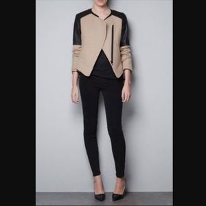 Zara | Wool Faux Leather Jacket