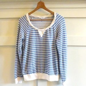 + SPRENDID blue/white stripe pull over top shirt