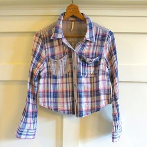 + FREE PEOPLE soft gauze crop flannel shirts +