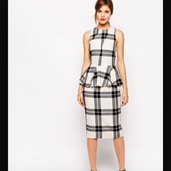 861737b10f4 ASOS Black   White Plaid Peplum Dress