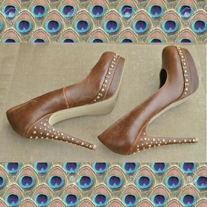 Shoedazzle Shoes - Rinnah pumps in distressed brown with gold studs.