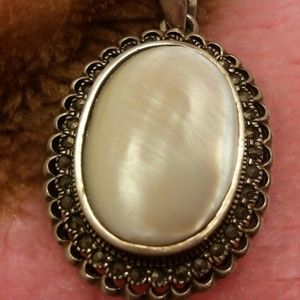 Jewelry - Large MOP Shell marcasite pendant