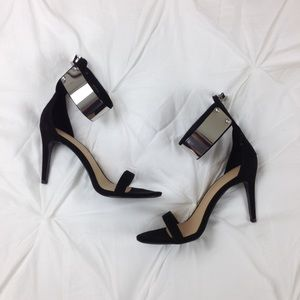 Zara Black Sandal Strappy Heels With Silver Buckle