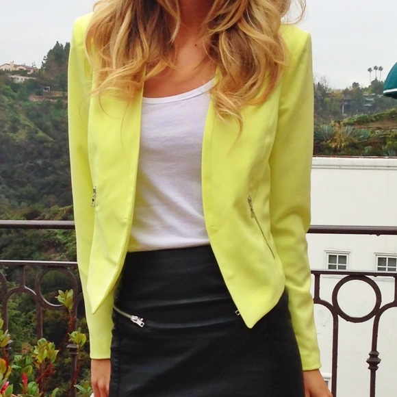 neon yellow blazer size m forever 21 on hold forever 21 yellow blazer ...